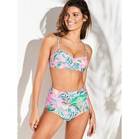 V by Very High Waist Bikini Brief, Pink Print, Size 8, Women