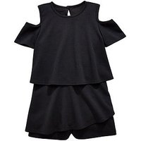 V by Very Girls Cold Shoulder Party Playsuit - Black, Black, Size 9 Years, Women