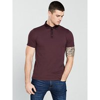V by Very Short Sleeved Cut Away Collar Polo, Burgundy, Size Xs, Men