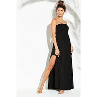 V by Very Jersey Shirred Bandeau Beach Maxi Dress - Black, Black, Size 10, Women