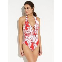 V by Very Ruffle Front Halter Swimsuit - Print, Print, Size 8, Women