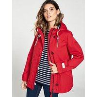 Joules Coast Waterproof Hooded Jacket - Red, Red, Size 14, Women