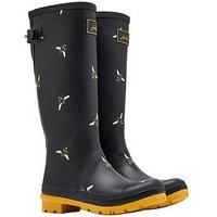 Joules Print Welly Blkotb, Black Botanical Bees, Size 8, Women