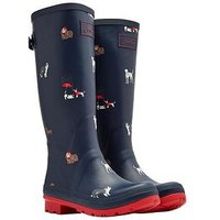 Joules Print Welly Navdogs, Navy Dogs, Size 8, Women