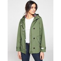 Joules Coast Waterproof Hooded Jacket - Khaki , Khaki, Size 14, Women