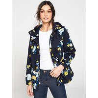 Joules Coast Waterproof Hooded Jacket - Navy/Floral, Navy Floral, Size 14, Women
