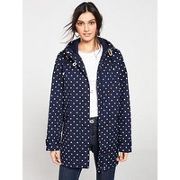 Joules Coast Waterproof Hooded Jacket - Navy , Navy Spot, Size 14, Women