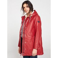 Joules Rainaway Raincoat - Red , Red, Size 16, Women