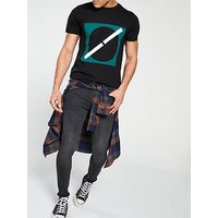 V by Very Skinny Fit Jean, Dark Grey Wash, Size 32, Inside Leg Regular, Men