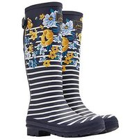 Joules Print Welly Navbotan, Navy Botanical, Size 3, Women