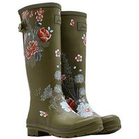 Joules Print Welly Grnflrl, Green Floral, Size 3, Women