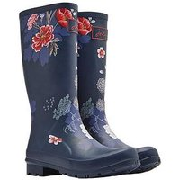 Joules Roll Up Welly Navflrl, Navy Floral, Size 7, Women