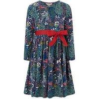 Monsoon Secret Garden Jersey Dress, Green, Size 11-12 Years, Women