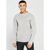 V by Very Crew Neck Knit, Grey, Size L, Men