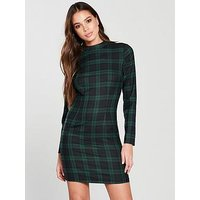 V by Very High Neck Dress - Check, Check, Size 12, Women