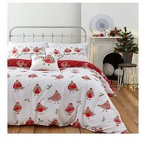 Product photograph showing Catherine Lansfield Robins Christmas Duvet Cover Set - Double