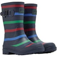 Joules Boys Stripe Wellies - Navy, Multi, Size 1 Older