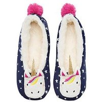 Joules Girls Unicorn Slipper - Navy, Navy, Size Xs