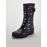 Joules Girls Star Wellies, Navy, Size 12 Younger