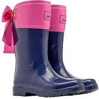 Joules Girls Bow Wellies - Navy/Pink, Navy, Size 2 Older