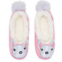 Joules Girls Bulldog Slippers - Pink, Pink, Size S