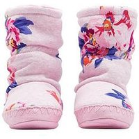 Joules Girls Floral Slipper Boot, Pink, Size S