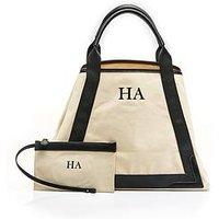 HA Designs Personalised Initial Black Slouch Canvas Bag, Black, Women