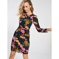 Whistles Whistles Digital Bloom Print Silk Bodycon Dress