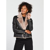 WHISTLES Whistles Faux Fur Lined Leather Agnes Jacket, Black, Size 6, Women