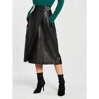 WHISTLES Leather Wrap Skirt, Black, Size 8, Women