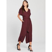 WHISTLES Margot Spot Print Wrap Back Jumpsuit, Burgundy, Size 12, Women