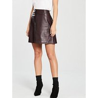 WHISTLES Leather A-line Skirt, Burgundy, Size 6, Women