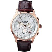 Sekonda Sekonda Silver and Rose Detail Chronograph Dial Brown Leather Strap Mens Watch, One Colour, Men