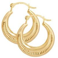 Love GOLD 9ct Gold 14mm Round Creole Hoop Earrings, One Colour, Women