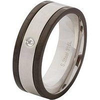 Stainless Steel, Cubic Zirconia & Black Mens Ring, Silver, Size X, Men