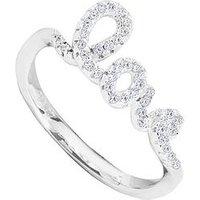 The Love Silver Collection Sterling Silver Cubic Zirconia 'Love' Ring, Silver, Size P, Women