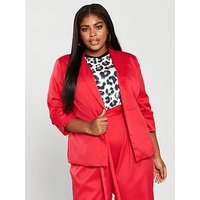 Girls On Film Curve Co-Ord Tailored Blazer - Red, Red, Size 18, Women