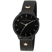 Thom Olson Night Dream Black Dial Black Stainless Steel Mesh Strap with Gold Charms Ladies Watch, One Colour, Women