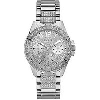 Guess Guess Lady Frontier Silver Crystal Set Multi Dial Stainless Steel Bracelet Ladies Watch, One Colour, Women