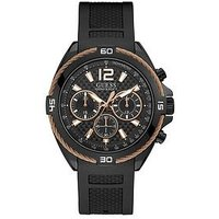 Guess Guess Black and Rose Gold Detail Chronograph Dial Black Textured Silicone Strap Mens Watch, One Colour, Men