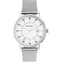 Paul Smith Paul Smith Gauge White with Red Detail Dial Stainless Steel Mesh Mens Watch, One Colour, Men