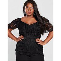 V by Very Curve Lace Ruffle Sleeve Top - Black, Black, Size 22, Women