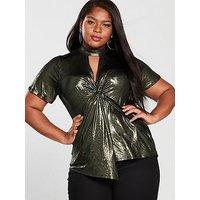 V by Very Curve Metallic Drape Choker Neck Top, Metallic, Size 28, Women