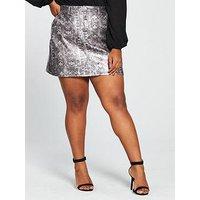 V by Very Curve Coated Mini Skirt - Snake Print , Snake, Size 26, Women