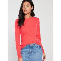 V by Very Supersoft Crew Neck Jumper - Coral Pink, Coral Pink, Size 12, Women
