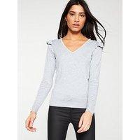 V by Very Ribbed Frill Shoulder V-Neck Jumper - Grey Marl, Grey Marl, Size 8, Women