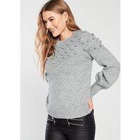 V by Very Pom Pom Deep Cuff Jumper - Grey, Grey Marl, Size 20, Women