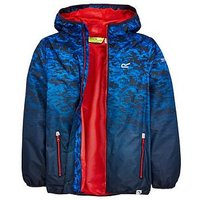 Regatta Regatta Boys Printed Waterproof Lever Jacket, Navy, Size 11-12 Years