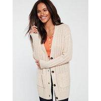 V by Very Stitch Detail Button Through Boyfriend Cardigan - Oatmeal, Oatmeal Marl, Size 12-14=M, Women