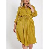 RI Plus Midi Dress - Ochre, Yellow, Size 28, Women